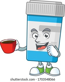 An image cartoon character of medical bottle with a cup of coffee