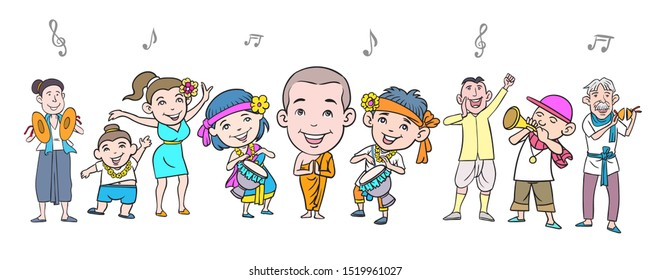 Image of cartoon characters showing various gestures with music notes. hand drawn style vector design illustrations.