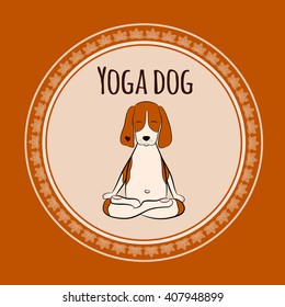 Image of a cartoon funny dog beagle sitting on lotus position of yoga. Vector illustration