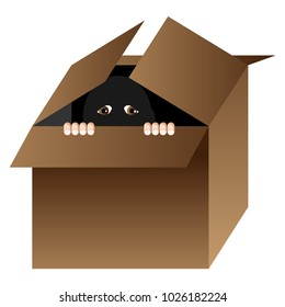 An image of a Cartoon person hiding in a box isolated on white.