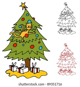 An image of a cat climbing a Christmas tree.