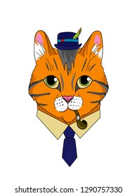 The image of a cat in a hat with a pipe for smoking in a tie. Cat gentleman with felovom suit. Cat in clothes. Portrait of a cat in clothes. Red tomcat in a hat with a feather.