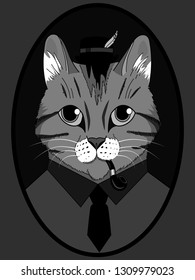 The image of a cat in a hat with a pipe for smoking in a tie. Cat gentleman with felovom suit. Cat in clothes. Portrait of a cat in clothes. Red tomcat in a hat with a feather. Portrait.