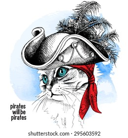 Image cat portrait in a pirate hat and bandana on blue background. Vector illustration.