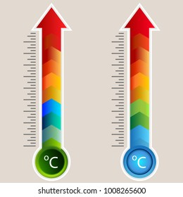 An image of a Celcius Heat Map Arrow Gauge Thermometer icon set.