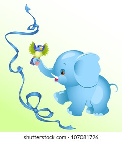 The image a cheerful  elephant.A little bird sitting on an elephant