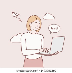 Image of cheerful young woman standing isolated over pink background using laptop computer. Hand drawn style vector design illustrations.
