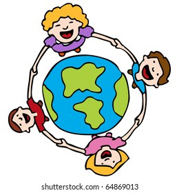 An image of a children holding hands around the Earth.
