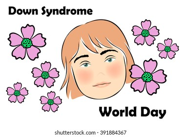 Image of the child's face with Down Syndrome. Down Syndrome World Day.