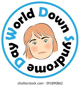 Image of the child's face with Down Syndrome. Down Syndrome World Day. Stamp.