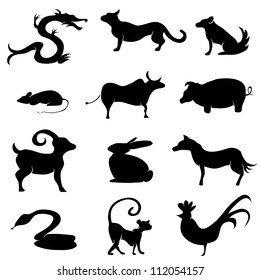 An image of a chinese astrology animal silhouettes.