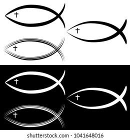An image of a Christian Jesus Fish Symbol Set Black White.