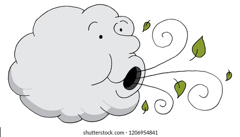 An image of a Cloud Cartoon Blowing Leaves Wind.