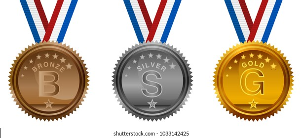An image of a Competition Bronze Silver Gold Medals Set with ribbon lanyard.