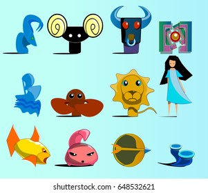 An image consisting of twenty-four signs of the zodiac. Among the icons of the horoscope you can see a lion, calf, archer, twins, ram, goat and so on.