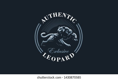 The image of a cougar or panther or leopard in a minimalist style.  Vector illustration