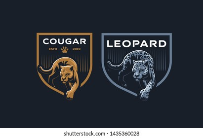 The image of a cougar or panther in a minimalist style. Vector illustration