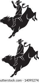 image cowboy riding a rodeo