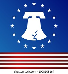 An image of a Cracked Freedom American Flag Liberty Bell icon with circle of stars.