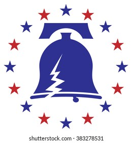 An image of a cracked liberty bell icon with stars.
