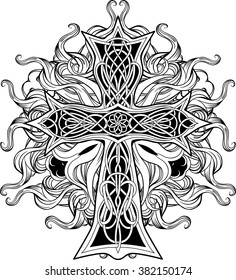 image of cross in celtic style with ribbons of fire