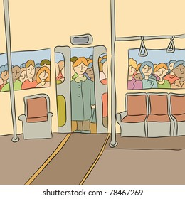 An image of a crowd of people waiting to board the subway car.