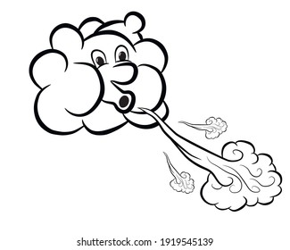Image of a cute cartoon cloud blowing in the wind, isolated on white. Vector illustration.