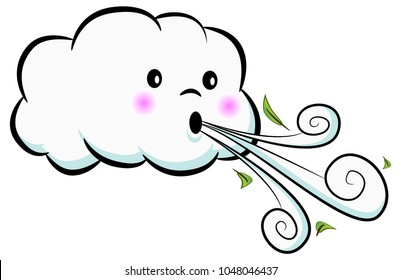 An image of a Cute Cloud Blowing Wind isolated on white.