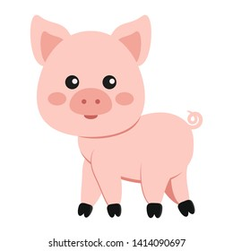 Image of cute funny pink pig with curly tail isolated on white background. Flat design cartoon style vector illustration. Farm and domestic animal icon.