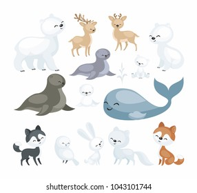 The image of cute polar animals. Vector illustrations set isolated on a white background.
