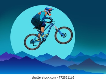Image of a cyclist on a background of mountains and a big moon - vector