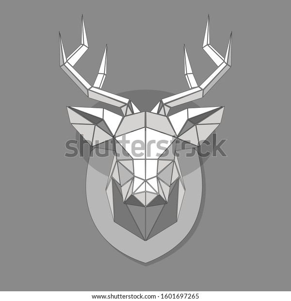Image of a Deer made of triangles, stylish geometric square vector illustration in gray.