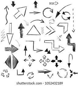 image of different types of arrows in the style of a quick careless sketch vector