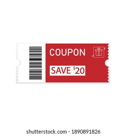 image of a discount coupon on a white background. Discounts, promotions. Vector