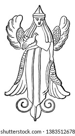 An image of the divinity whom the Phoenicians worshipped as Astarte, or the goddess associated with fertility, sexuality, and war, vintage line drawing or engraving illustration.