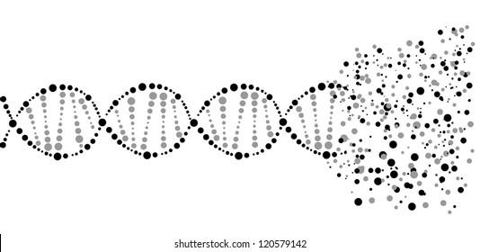 Image of a DNA molecule, showing its destruction. Eps 10