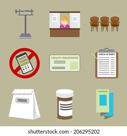 An image of doctor office icons.