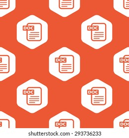 Image of document page with text DOC in white hexagon, repeated on orange background