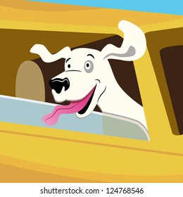 An image of a dog car ride.