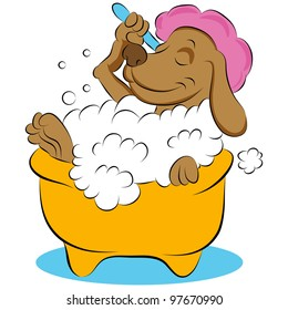 An image of a dog taking a bubble bath.