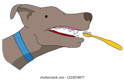 An image of a Dog Toothbrush Brushing  Teeth Pet Care.