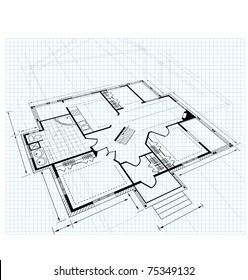 Image drawing house plan small square on a white background