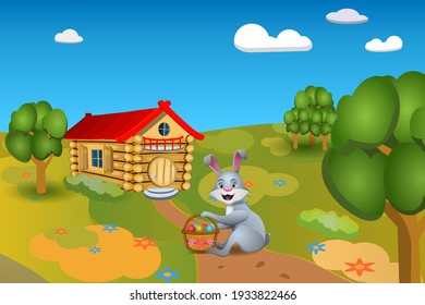 Image of an Easter bunny sitting on a path with a basket of colored eggs near the hut