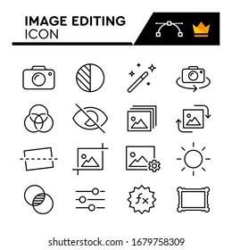 Image Editing line icons set. Editable Stroke