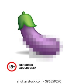Image of eggplant closed by censorship, symbol adult only 18+, vector illustration.