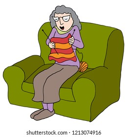 An image of a Elderly Woman Sitting in Chair Knitting Yarn.