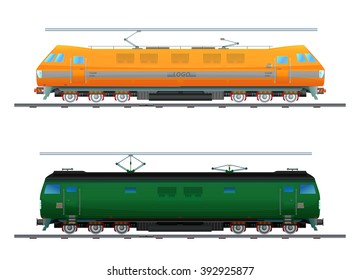 Image electric locomotive / Picture of two modern electric locomotives with power lines