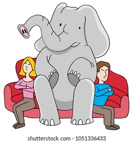 An image of a Elephant in Room Relationship Problems man and woman argument cartoon.