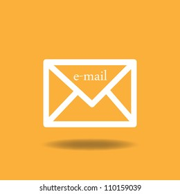 Image of an email icon against a colorful orange background.