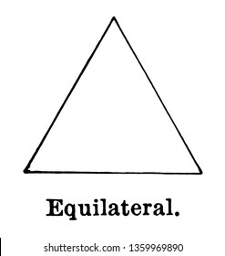 The image of the equilateral triangle. The three sides of this triangle are the same, vintage line drawing or engraving illustration.